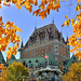 Chateau Frontenac and Canadian Maple Leaves, Quebec City, Quebec, Canada. by pedro lastra
