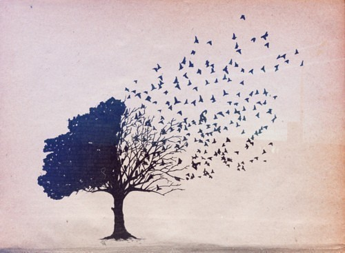 Tree with Birds Flying Tattoos