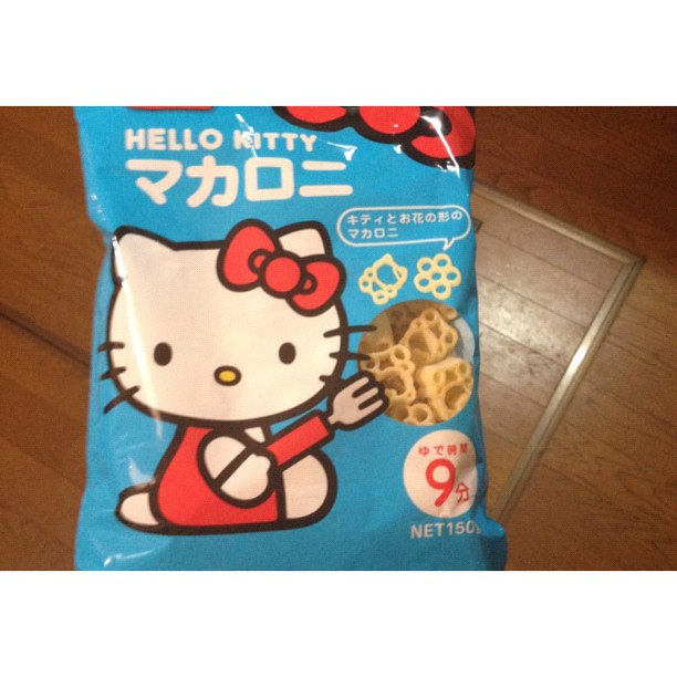 Dinner last night: Hello Kitty pasta. #japan #takaoka #hellokitty #dinner
