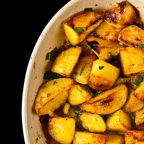 Roast Potatoes in Pan, Overhead View