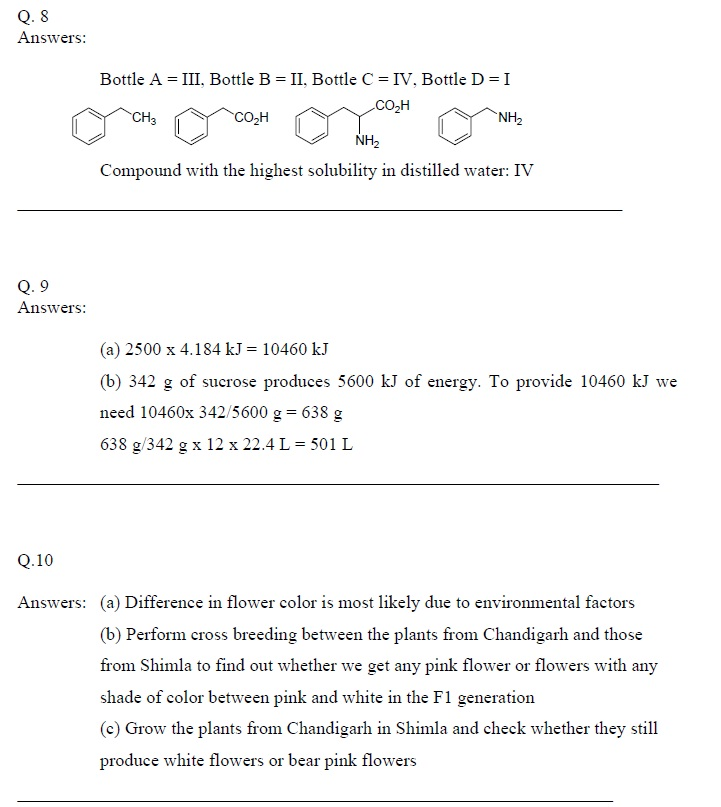 KVPY 2010 SA Part B Answer Key