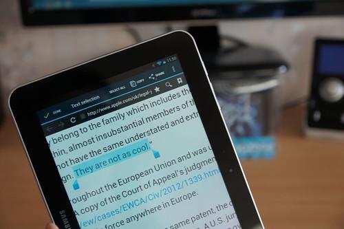 Samsung Tab nepakankamai krūtas, kad kopijuotų Apple