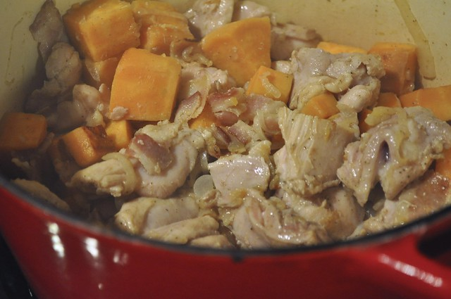 Chicken, bacon, sweet potatoes and onion