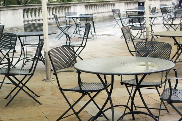 wet rainy chairs outside Somerset House London