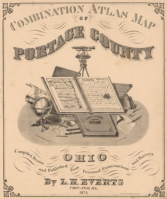Includes large vignette with the tools of cartographers and surveyors 1874
