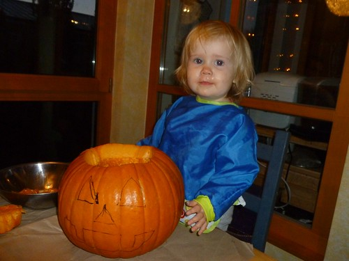Lily's first pumpkin carving