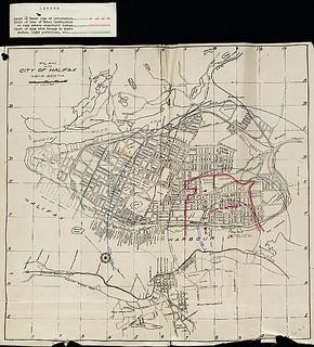 Plan of the City of Halifax, Nova Scotia, showing the radius of the blast from the explosion / Plan de la cite d'Halifax en Nouvelle-Écosse, montrant l'étendue du souffle de l'explosion