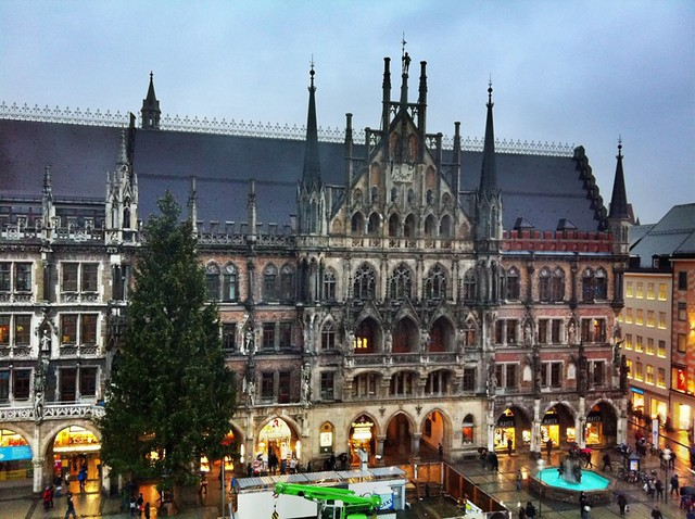 Marienplatz and Munich town hall in rainy January weather