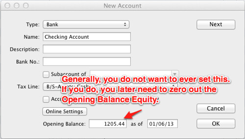 new account creates opening balance equity