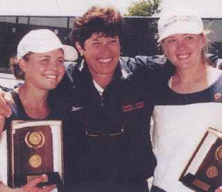 Meghan Gould '01 and Sheree Schwartz '01 pose with Coach Ann Lebedeff after winning the NCAA Division III Women's Double Tennis championships in 2000.