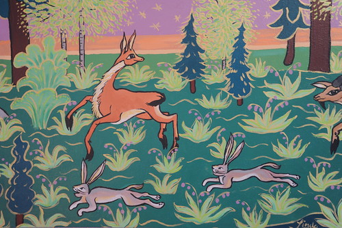 Detail: African Ibex creatures running with jack rabbits in an Alaskan paradise, painting by Linda Lane, 1983, private collection, Anchorage, Alaska, USA by Wonderlane