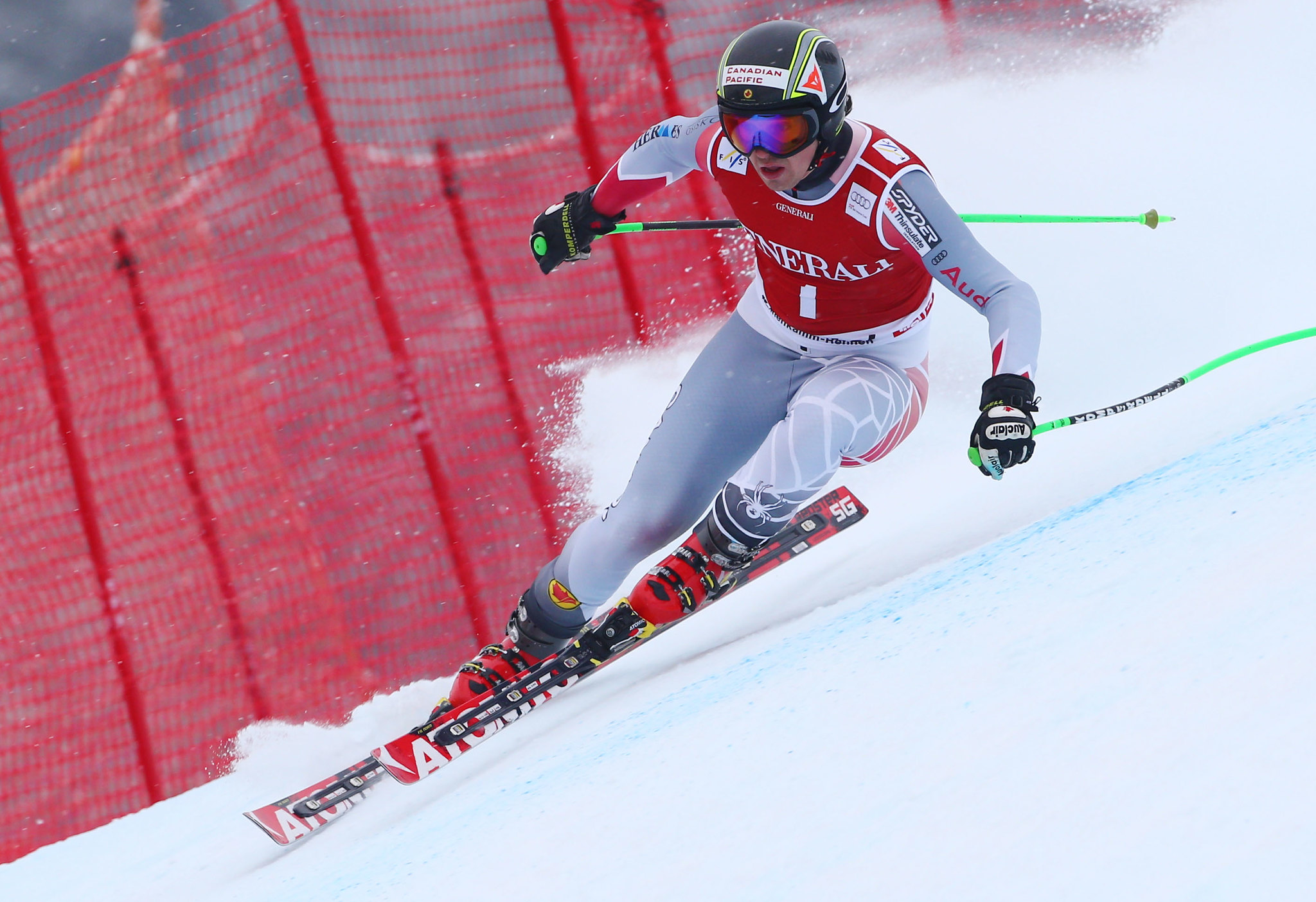 John Kucera keeps his focus as he battles the super-G track in Kitzbühel.