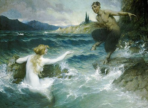 "Ferdinand Leeke (German, 1859-1923), ""A Mermaid Tempting a Satyr into the Water"""