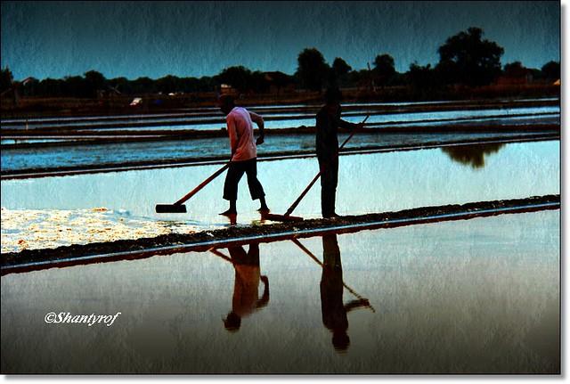 Workers salt ponds