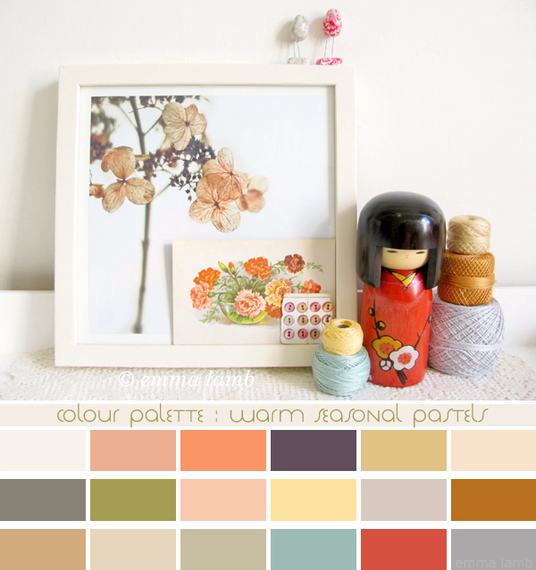 colour palette : warm seasonal pastels, curated by Emma Lamb / photograph © emma lamb