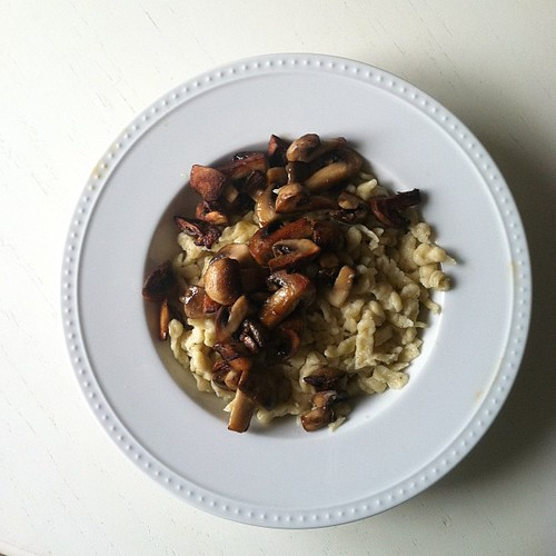 Homemade spaetzle and sautéed mushrooms.