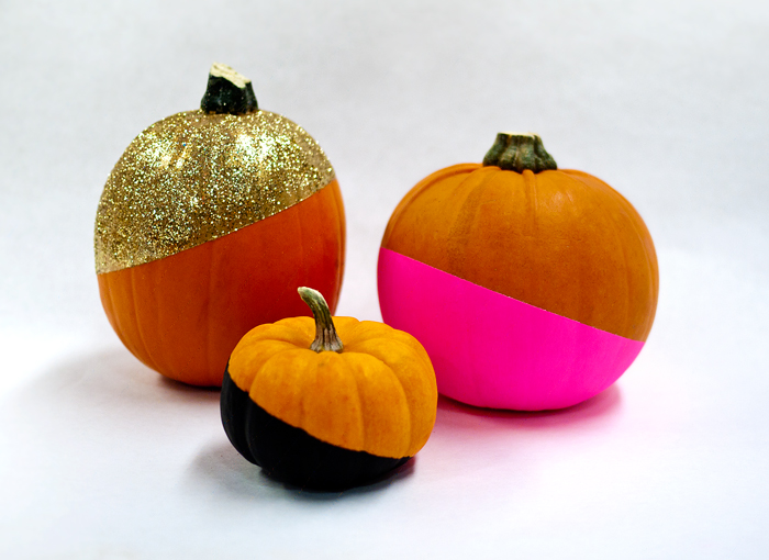 Color Blocked Pumpkins DIY: Black, Gold, Pink