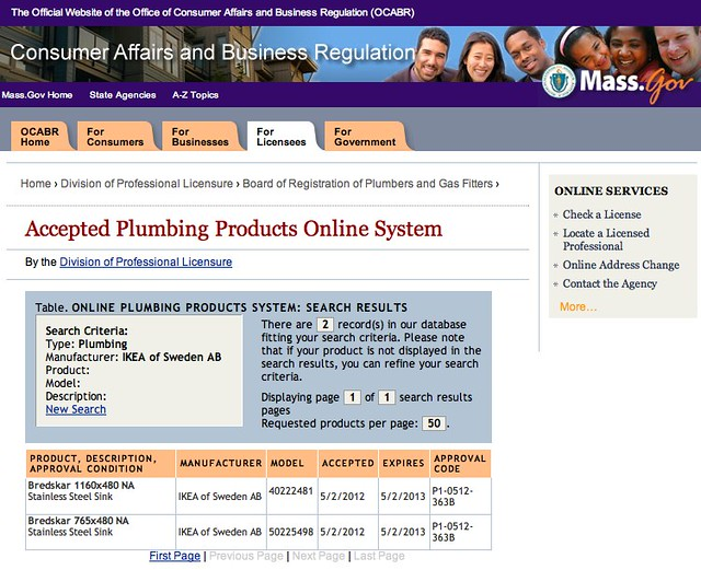 Accepted Plumbing Products Online System by Massachusetts Board of Registration of Plumbers and Gas Fitters: IKEA