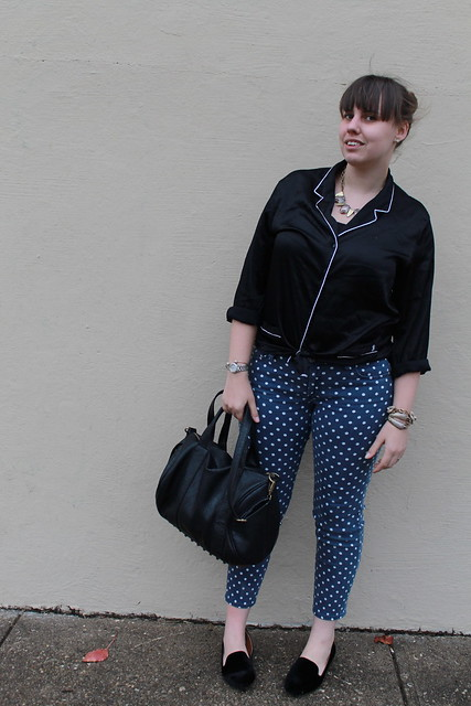 PJ Top Outfit: Victoria's Secret pajama top, polkadot AG jeans, black velvet loafers, studded-bottom bag