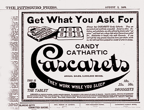 Cascarets Candy for Constipation and Indigestion, 1899 by JFGryphon
