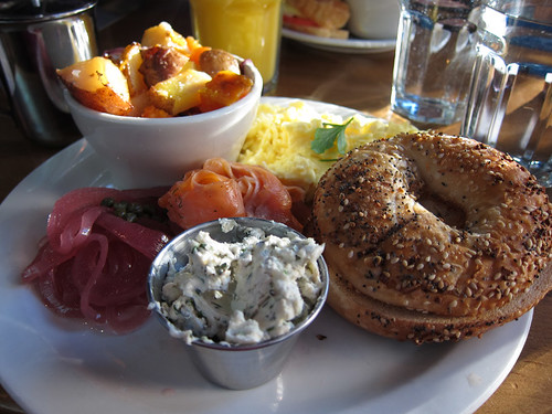 trout lox and bagel @ Over Easy