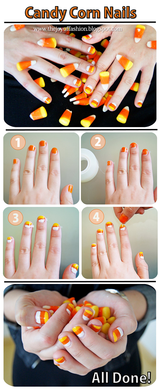 DIY Halloween: Candy Corn Nails tutorial
