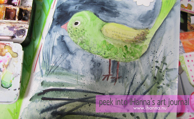 Green bird in watercolour