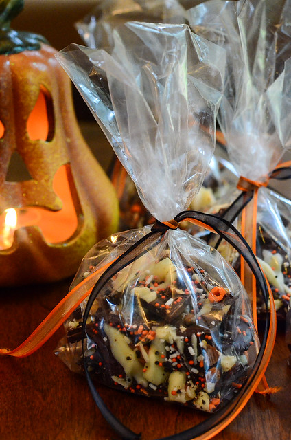 Pumpkin Spice Chocolate Bark packaged in the cellophane bag.
