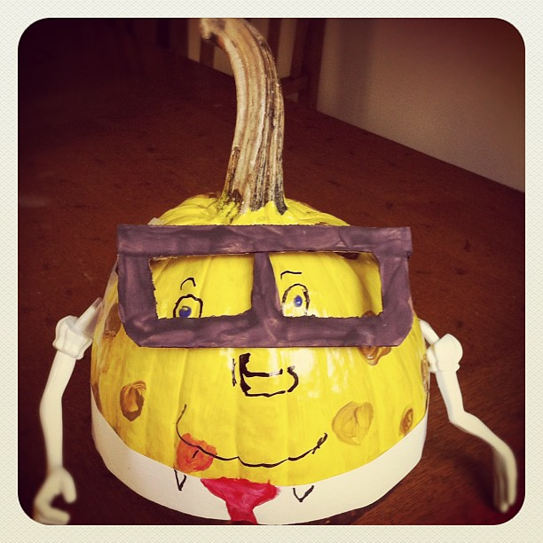 Abby's SpongeBob pumpkin she made for a book report for school. Isn't he cute:-)