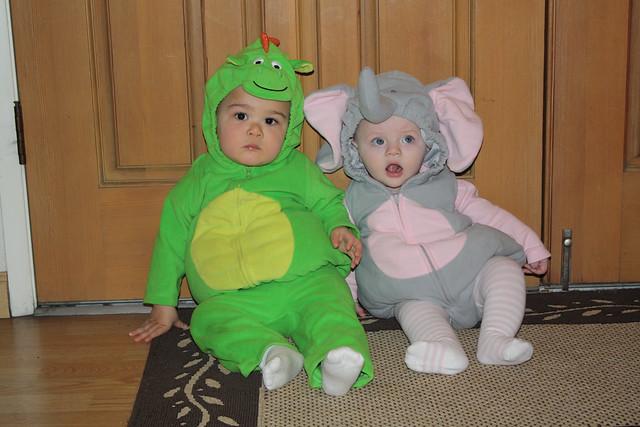 Dinosaur and an elephant