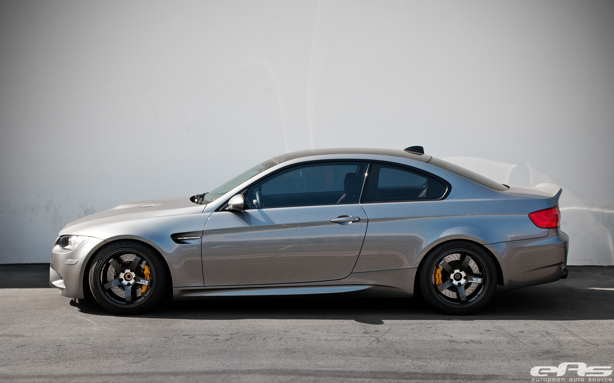 Space Gray BMW E92 M3 ADVAN TCIII Wheels Yellow Brembo Brakes by eas