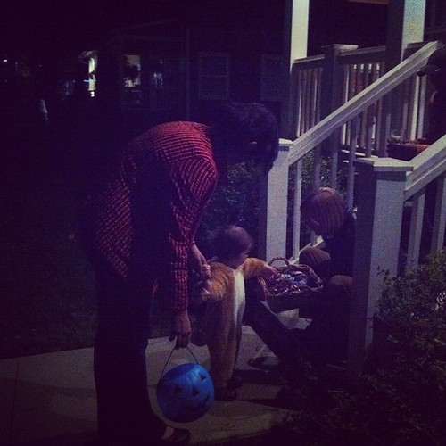 Mick was such a sweetie trick or treating.