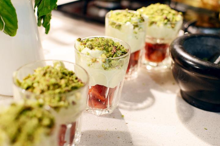 strawberry pistachio mousse