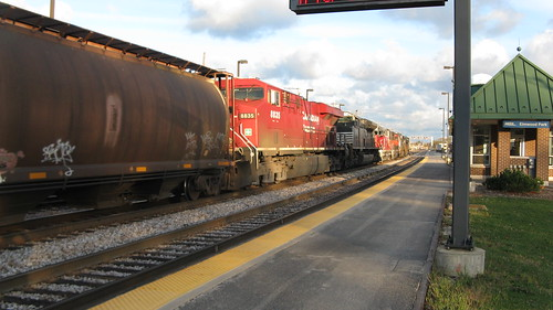 Eastbound Norfolk Southern Railroad freight train with a few Canadian Pacific engines coupled up front in the consist.  Elmwood Park Illinois.  Late October 2012. by Eddie from Chicago