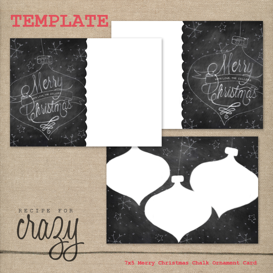 7x5 merry christmas chalk ornament card template