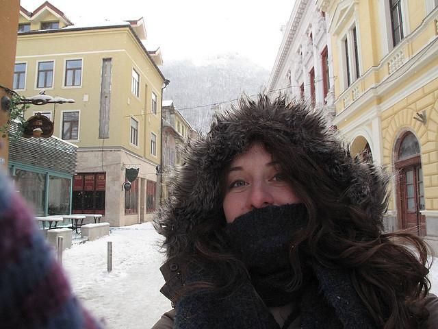 Trying to stay warm in Braşov, Romania