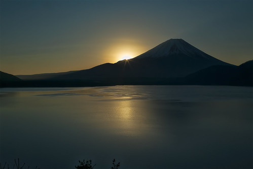 winter lake sunrise mtfuji 2013