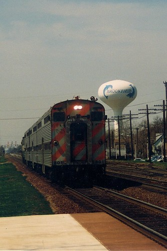 Eastbound Burlington Northern Railroad /  early Metra commuter train.  Brookfield Illinois.  April 1989. by Eddie from Chicago