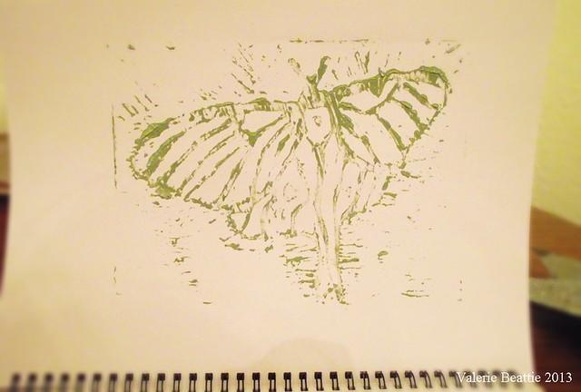luna moth lino cut