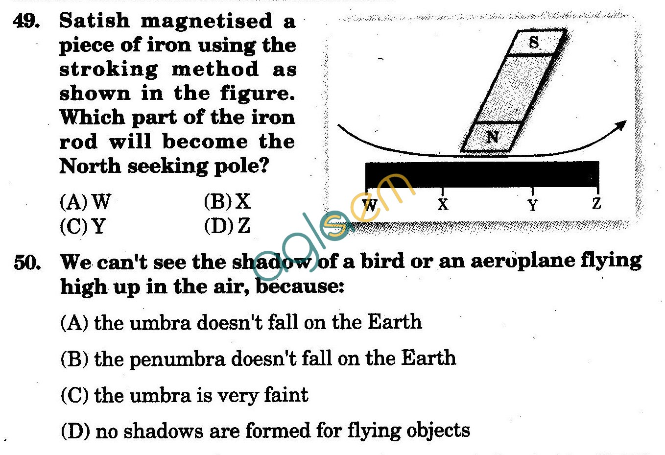 NSTSE 2009 Class VI Question Paper with Answers - Physics