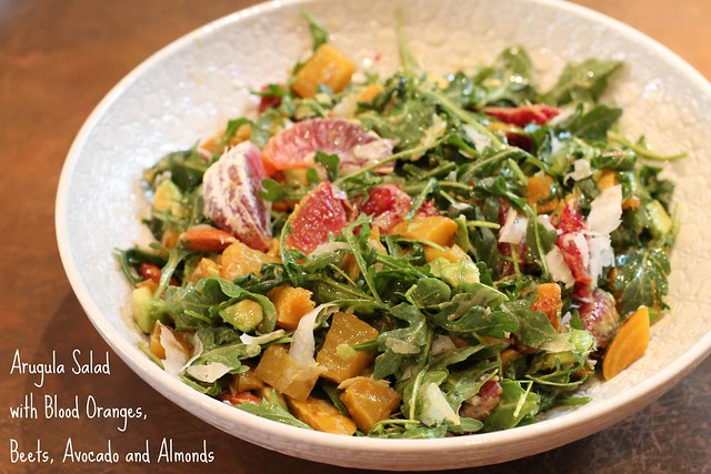 Argula Salad with Blood Oranges, Beets, Avocado and Almonds