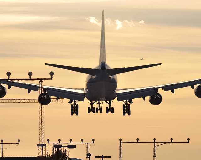 KLM Boeing 747 landing into sunset - Toronto Pearson