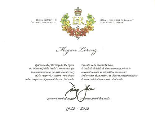 Queen Elizabeth II Diamond Jubilee Medal Certificate by Megan Lorenz
