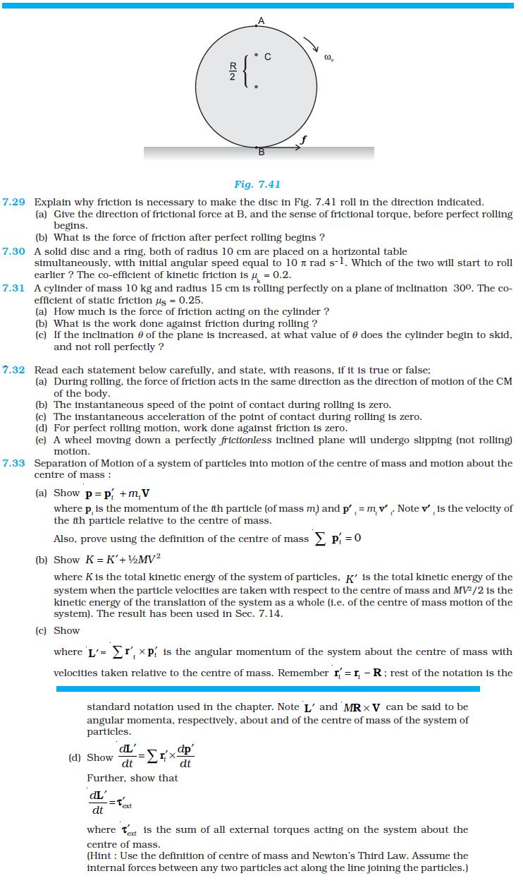 NCERT Class XI Physics Chapter 7 – Systems of Particles and Rotational Motion