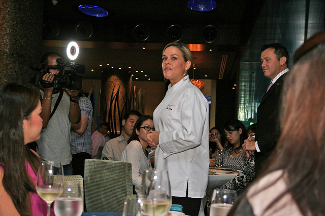 Cat Cora introducing her dishes