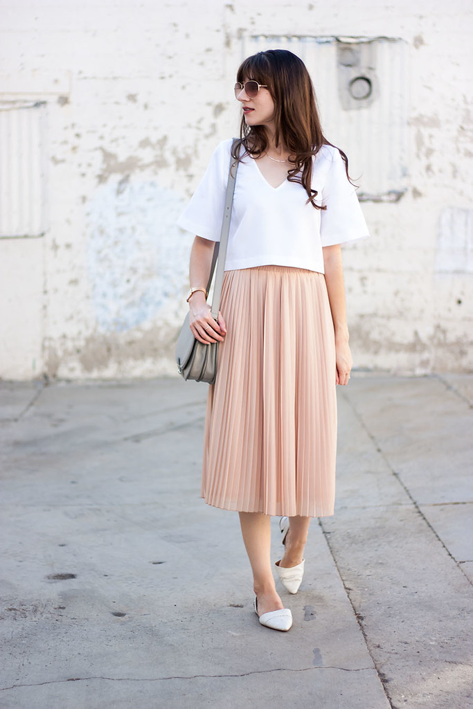Blush Pleated Skirt, Loeffler Randall Bag