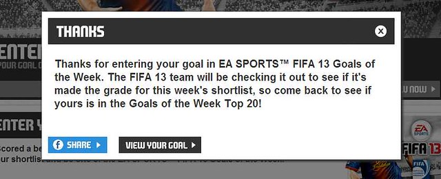Share your FIFA 13 goal with your Facebook friends
