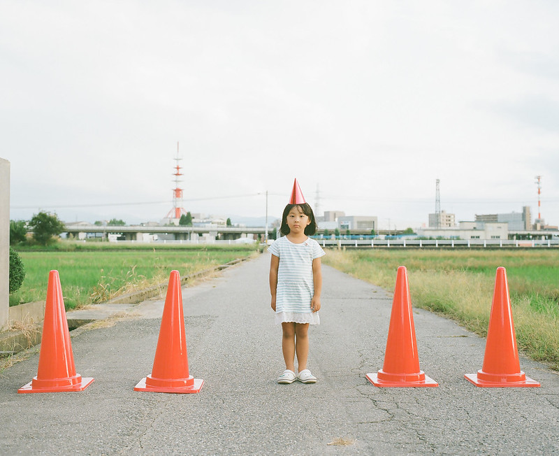 Traffic cones girl