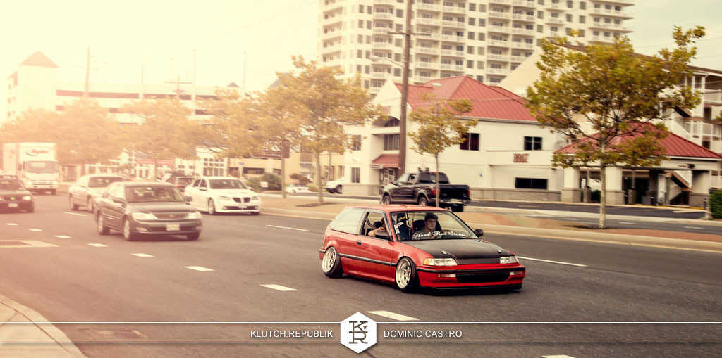 red EF honda civic hatchback coupe si vtec at h2oI 2012 3pc wheels static airride low slammed coilovers stance stanced hellaflush poke tuck negative postive camber fitment fitted tire stretch laid out hard parked seen on klutch republik