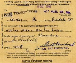 6 Oct 1942 - Australian 2/17th Infantry Battalion Pte Alec Crisdale's Alexandria Leave Pass dated 1-6 Oct 1942